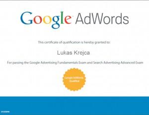 Jsem držitelem certifikátu Google AdWords Qualified