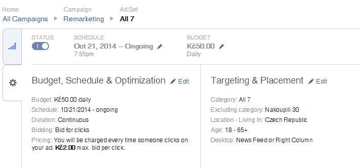 Nastavení cílení a nabídky na úrovni sestavy - Facebook reklama - nová struktura
